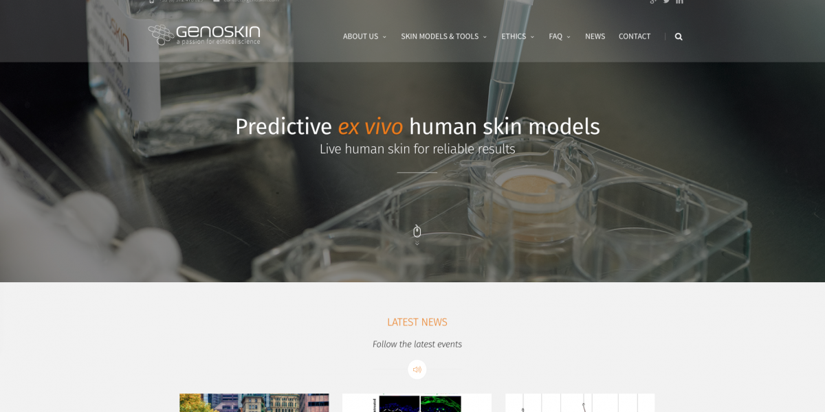 Genoskin human skin models new website