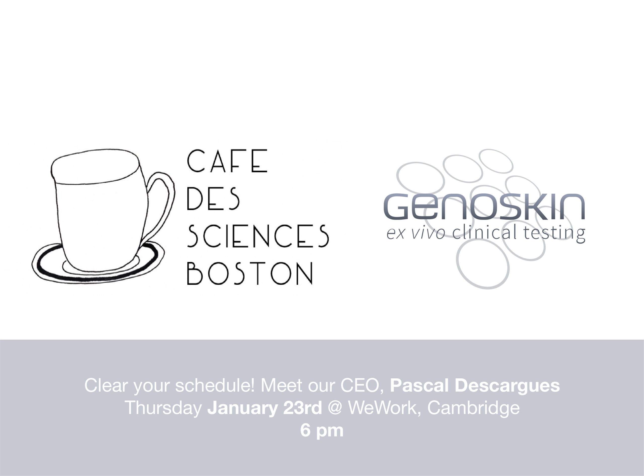 Café des Sciences Boston logo and Genoskin logo