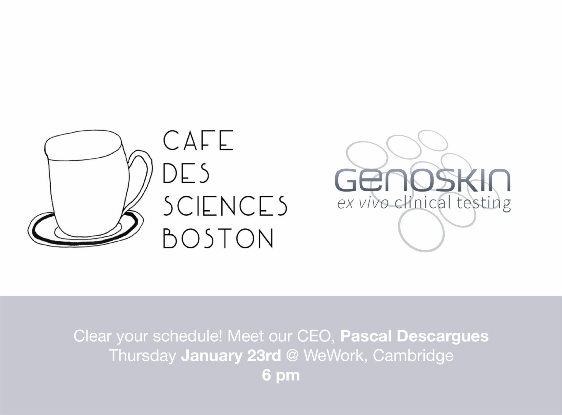 Café des Sciences Boston logo and Genoskin logo