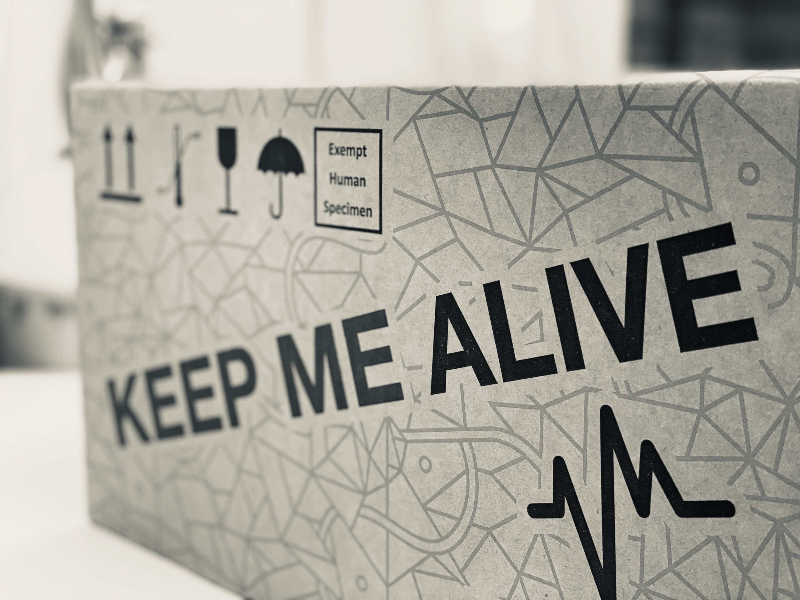 Preview of the new packaging with icons, keep me alive inscription and ECG icon.