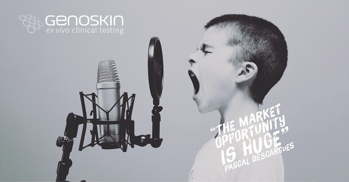 "A boy screaming with quote from Benzinga article ""The market opportunity is huge"" Pascal Descargues"