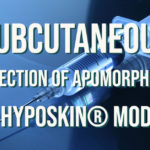 Photograph of an injection needle with the text: Subcutaneous Injection of Apomorphine in HypoSkin® Model